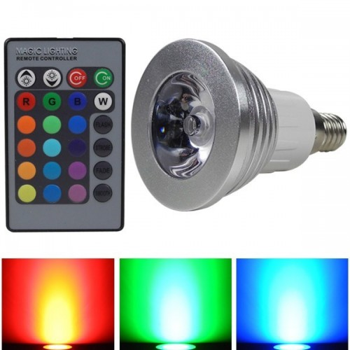E14 RGB LED 3 W LEDs, Household Furniture Jewellery Multi-Coloured 16 Color Changing With 24 Key Remote Controller