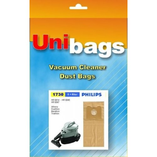 Vacuum Cleaner Paper Dust Bag Set Replacement For Philips Triathlon Set 5Pcs.