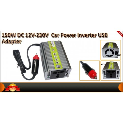 150W Car DC 12V to AC 220V Power Inverter - Silver