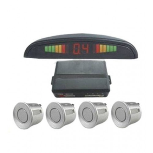 Silver 4 Point Rear Reverse Parking Sensor Kit With Speaker Buzzer