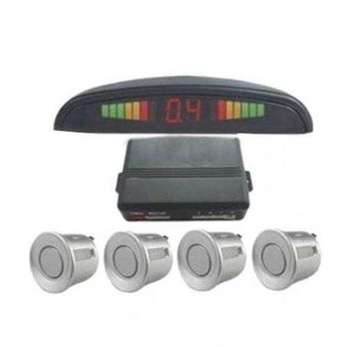 Silver 4 Point Rear Reverse Parking Sensor Kit With Speaker Buzzer