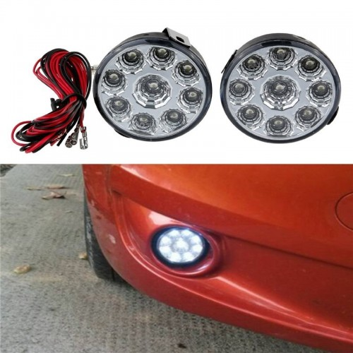 2x 9LED Car Front Fog Tail Lamp Round Daytime Driving Running Light