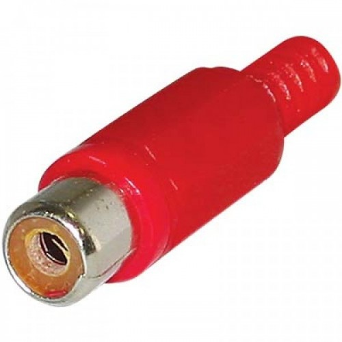 RCA Female Solder Connector with Strain Relief - Plastic - Red