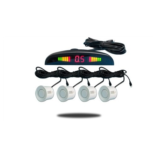 White 4 Point Rear Reverse Parking Sensor Kit Parking Aid with Buzzer
