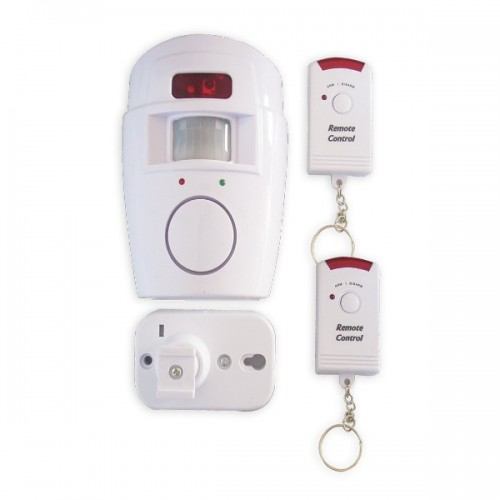 Wireless alarm with motion detector and two remotes