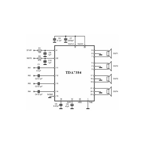 TDA 7384 - PAL 003A IC ΗΜΙΑΓΩΓΟΙ