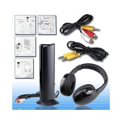 MH2001 5-in-1 Wireless Headphones +Microphone Emitter & FM Radio