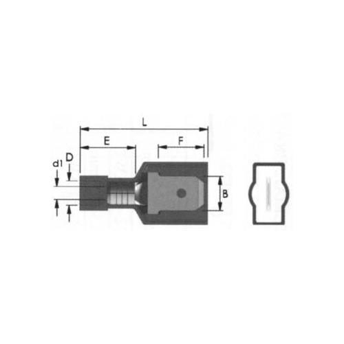 COATED SLIDE CABLE LUG NYLON (Χ/Α) MALE RED M1-6.4AF/8 JEE