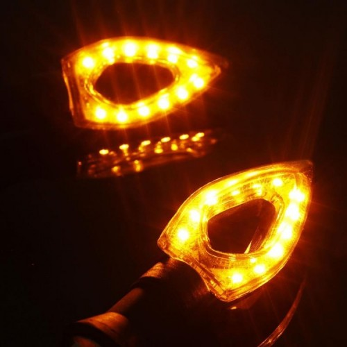 Black Amber Waterproof Motorcycle Moto LED Turn Signal Indicator Blinker Lights Lamp