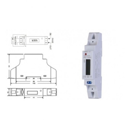DIN RAIL DIGITAL kWh METER SINGLE-PHASE 5-50Α DD10-L02 YTL