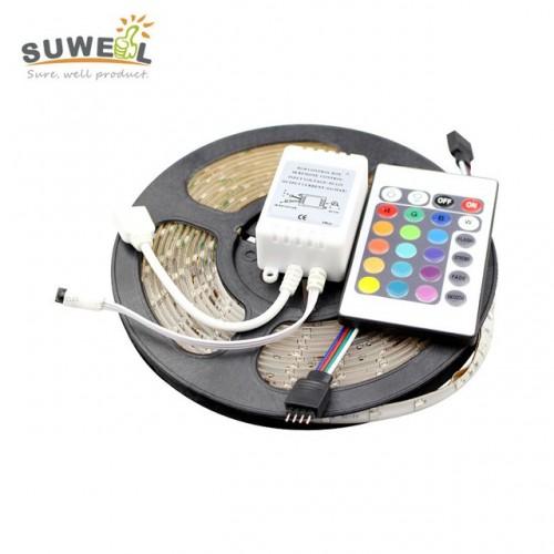 5 Meter RGB 3528 Waterproof 300 LED Flexible Strip With 24 Key IR Remote Controller