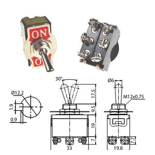 BIPOLAR TOGGLE SWITCH ON-ON 10A/250V 6P ST-1561 (T-1329)