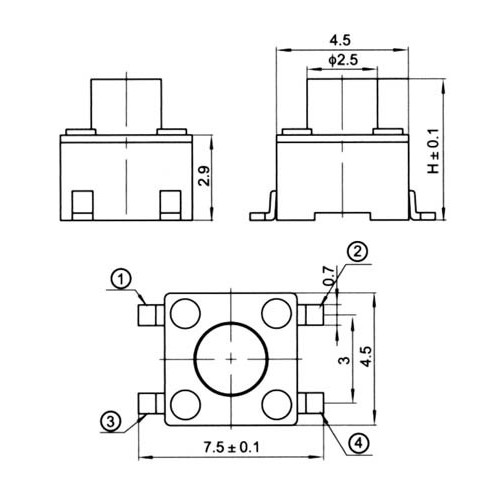 TACT SWITCH SMD 4.5X4.5 3.80mm