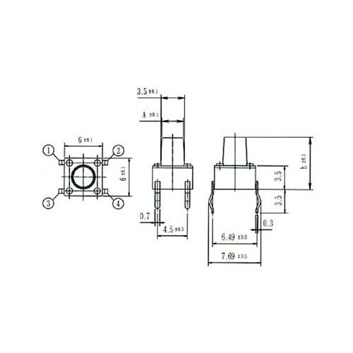 TACT 1105N TACT SWITCH 6*6mm ΥΨΟΣ 4.3mm