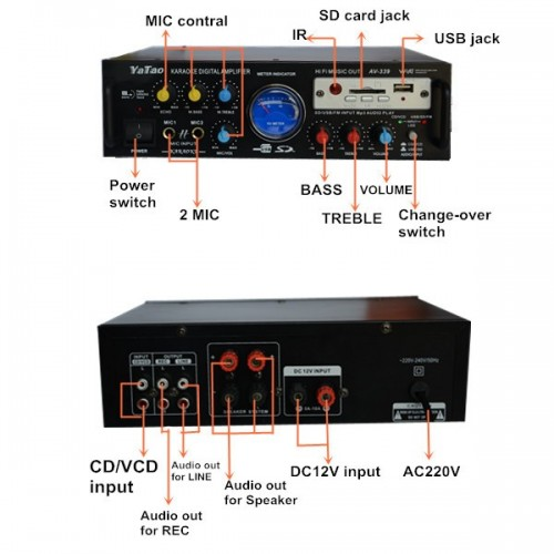 ΡΑΔΙΟ ΕΝΙΣΧΥΤΗΣ HI-FI + USB - MP3 + ΤΗΛΕΧΕΙΡΗΣΤΗΡΙΟ 2x40 Watt KARAOKE