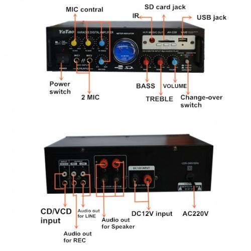 AV-339 USB SD FM KARAOKE Amplifier Support Microphone Digital Screen With Remote Control