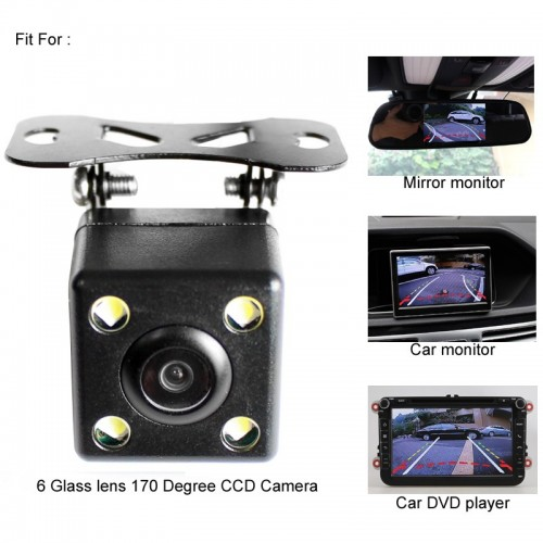 Universal CCD Car Reversing Rearview Camera with LED Light