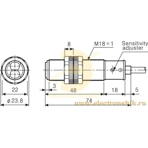 CYLINDRICAL PLASTIC PHOTOELECTRIC SENSOR PNP 0.10m BRP100-DDT-P AUT