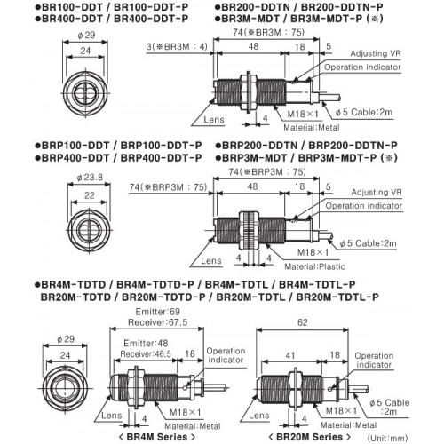 CYLINDRICAL METAL PHOTOELECTRIC SENSOR PNP 200m BR200-DDTN-P AUT