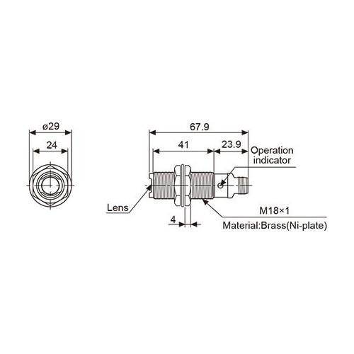CYLINDRICAL METAL PHOTOELECTRIC SENSOR PNP 20m BR20M-TDTD-P ..