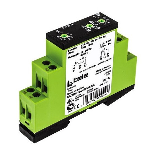 DIN RAIL TIMER RELAY 8 FUNCTIONS 1C/O 12-240VAC/DC