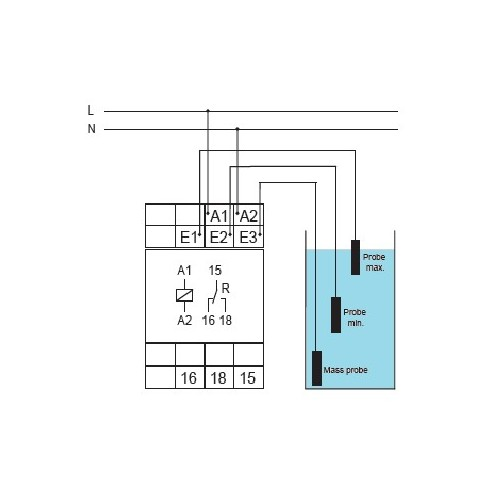 LIQUID LEVEL MONITORING RELAY FOR CONDUCTIVE FLUIDS E3LM10