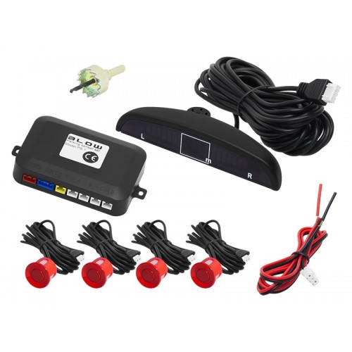 LED Display Car 4 Red Parking Sensor Reverse Backup Radar System 12V