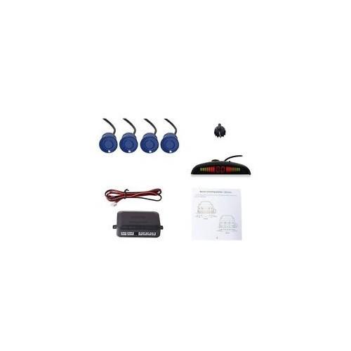 LED Display Car Parking Sensor Radar System Alarm Audio Reversing 4 Set Blue