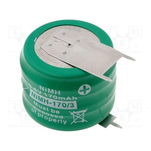 3.6V 170mAh NiMH battery 3piny