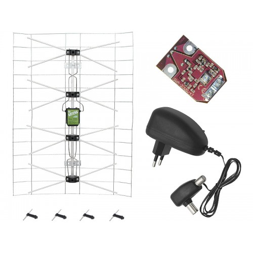 Broadband TV antenna + amplifier + power supply