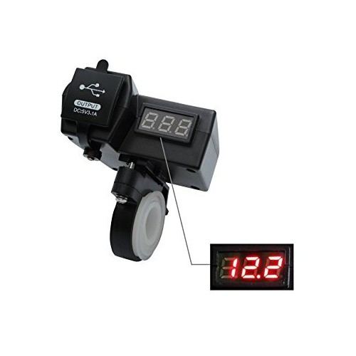 Motorcycle Dual USB Charger + Voltmeter