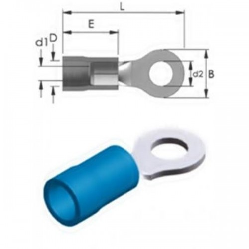SINGLE-HOLE CABLE LUG INSULATED BLUE 6.5-2 R2-6V