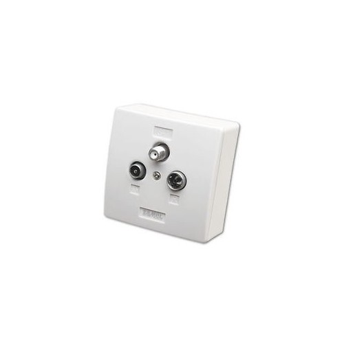 Terminal outlet surface-mounted and recessed TV, RF, SAT