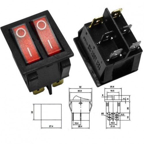LARGE SIZE DOUBLE ROCKER SWITCH 6P WITH INDICATOR LIGHT