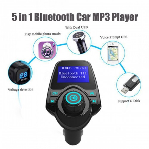 Bluetooth FM Transmitter HandsFree Bluetooth Music Receiver Car Kit Multifunction Wireless Car MP3 Player Car Charger