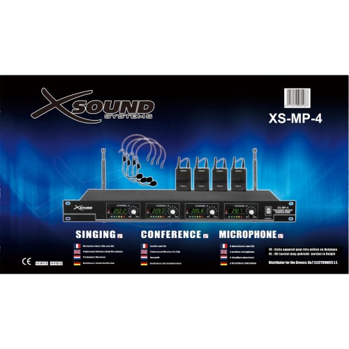 XS-MP-4 VHF wireless system with 4 tie and 4 head microphones