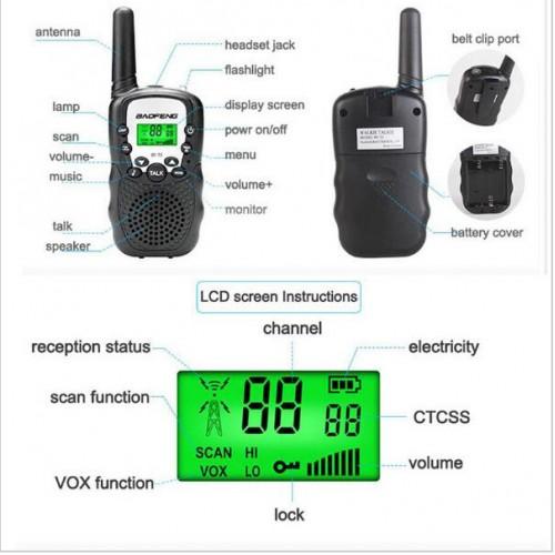 Baofeng BF-T3 x 2 pcs Walkie Talkie LCD 8 Channel 3-5km Range Autoscan