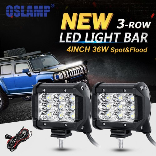 36W 4-Inch Waterproof IP67 LED Light Bar, 3600LM