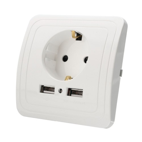 Schuko-Wall Socket with 2 USB ports