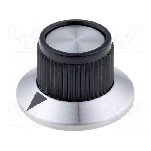 Knob with flange plastic Shaft d:6.35mm15.2x14.2mm
