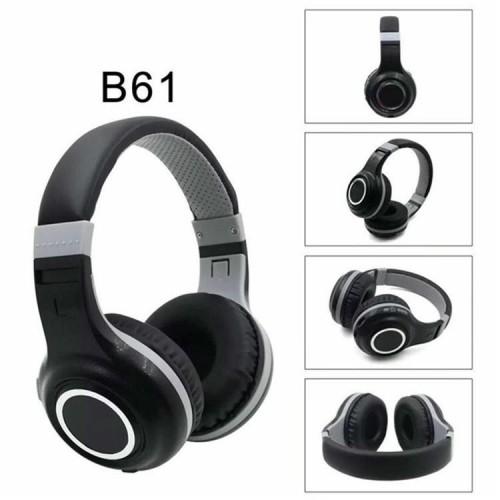 Безжични слушалки B61, Bluetooth, вграден микрофон, Черен