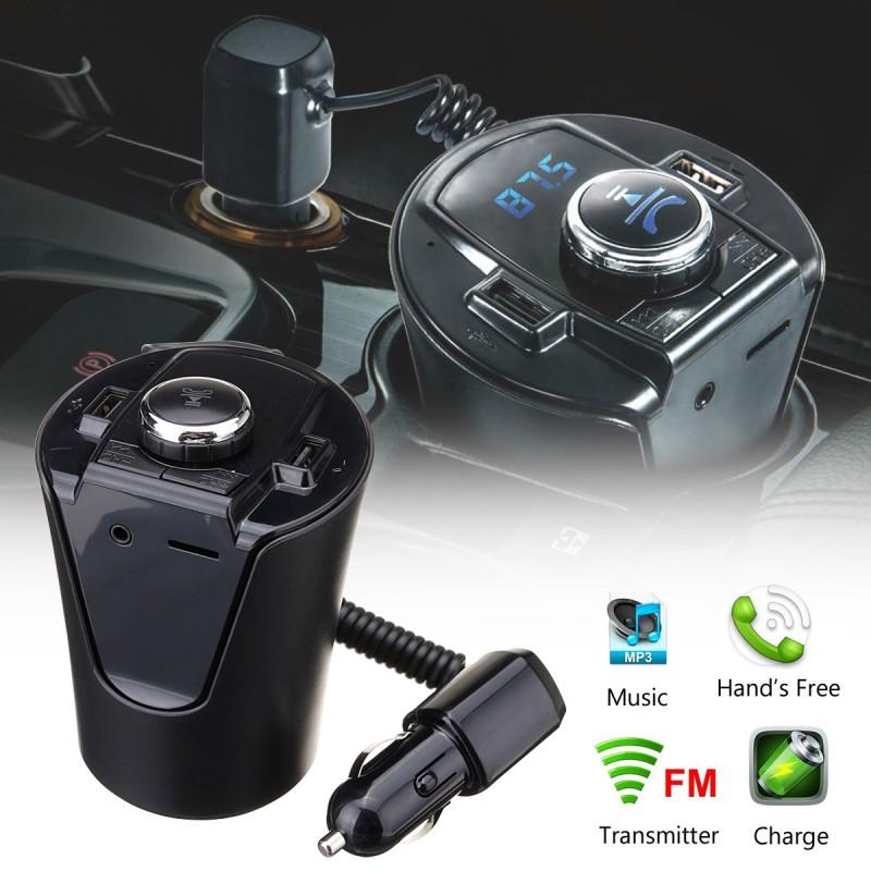 Bluetooth HandsFree FM Transmitter Music MP3 Player Dual USB Car Kit Charger
