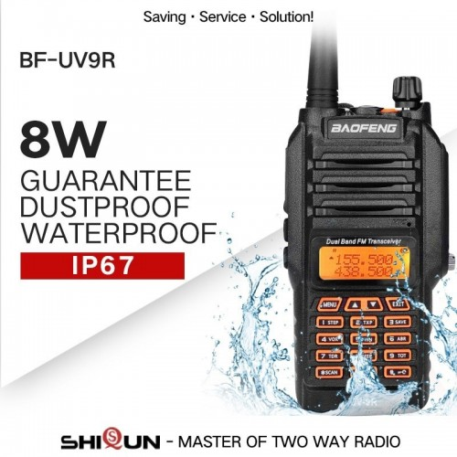 BAOFENG-UV-9R Walkie Talkie IP67 Waterproof Dual Band 136-174 / 400-520MHz 8W