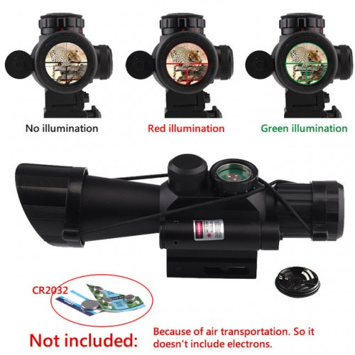 M7 4X30 Rifle Scope Red Green Mil-Dot Reticle With Side Attached