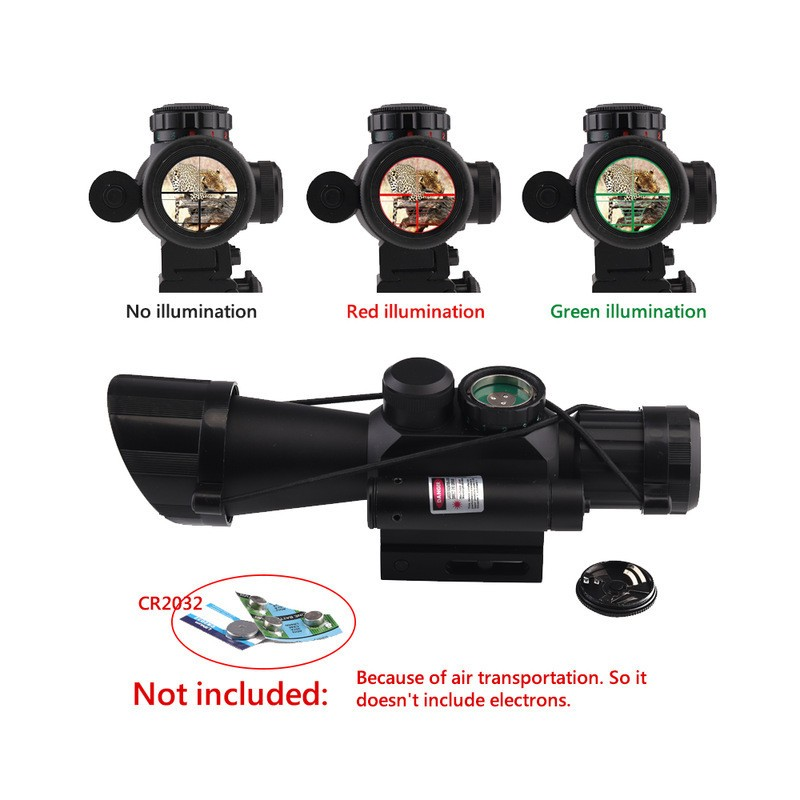 Rifle Scope Hunting M7 4X30 Rangefinding Sight Red Green Reticle Side Mounted Red laser Airsoft