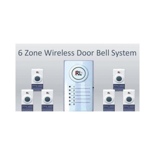 RL Six Zone Wireless White Door Bell System