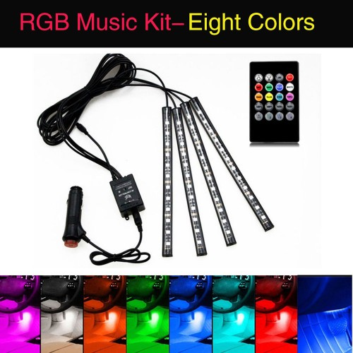 Car Atmosphere Interior RGB LED Strip Light with Remote Multicolor
