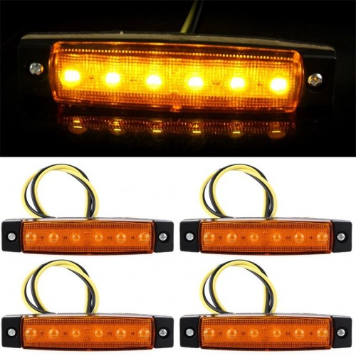 YWXLight 3W 24V 6-LED Orange Light Side Lamps for Truck