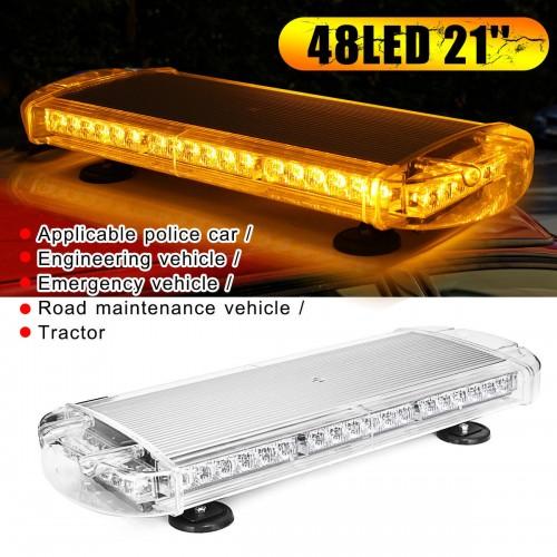 48LED Car Warning Emergency Beacon Flashing Strobe Police Light Bar Amber