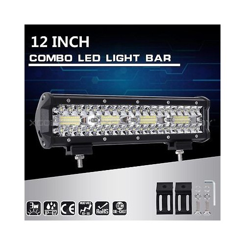 Tri-Row 12Inch 240W LED Work Light Bar Flood Spot Combo Truck SUV 4WD OFF ROAD